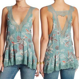 NWT Free people seaglass combo lace trim top